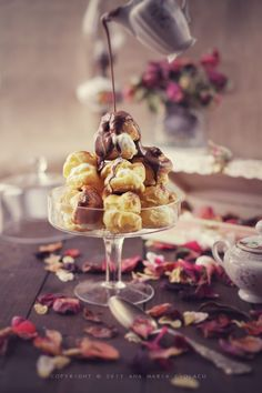 Ice Cream filled Profiteroles with Chocolate Ganache