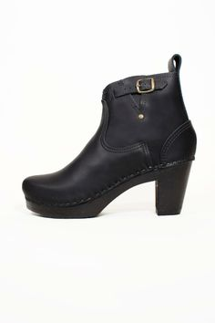 5'' Buckle Boot on Black High Heel in Black