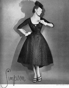 Jean Patchett wearing Adele Simpson 1954 vintage designer couture 50s black satin dress cocktail 3/4 sleeves low cut round neck full skirt model magazine photo print ad