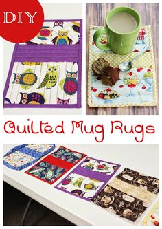 This free sewing pattern for DIY Quilted Mug Rugs makes a great beginner sewing project. We made them as a group activity for ladies craft night. Quilting Projects, Sewing Projects, Sewing Ideas, Quilting 101, Mug Rug Patterns, Quilt Patterns, Small Quilts, Mini Quilts, Sewing Crafts