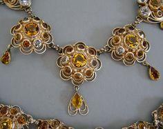 Hobé - Bijoux Vintage - Collier, Bracelet et Boucles d'Oreilles - Métal doré et Citrines et Topazes Imitation