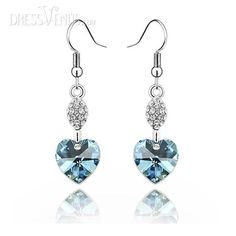 Beautiful String Alloy with Heart Shaped Rhinestone Earrings More Colors Available-JC0215