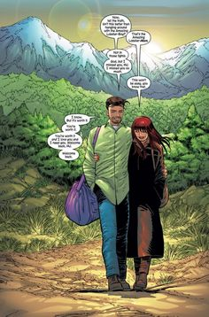 """Peter and Mary Jane walk off """"into the sunset"""" with each other at the end of Amazing Spider-Man Amazing Spiderman, Spiderman Girl, Marvel Characters, Marvel Heroes, Marvel Comics, Comic Superheroes, Cosmic Comics, Marvel Dc, John Romita Jr"""