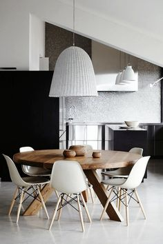 Round dining table with white and grey