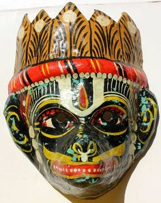 Vintage Paper Mache Mask Black Color God Narsimha Hand Made and Hand Painted | eBay