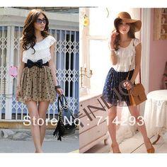 euro 7.45 incl. shipping 2 colors 2014 Women's Fashion Trendy Korean Lace Chiffon Mini Dress Polka dot Outfit Drop shipping 3803