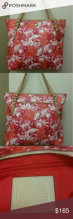 """Coach Peyton Zip Top Tote Great Spring/Summer Purse!!  Floral print Coated Canvas with leather trim? Creed/Style # 31342  -Inside back wall zip pocket, cell phone & multi-function pockets? -Outside open pocket -Zip-top closure, fabric lining -Leather Handles  Approx. Measurements : 11 3/4"""" (L) x 11 3/4"""" (H) x 4 1/4"""" (W)? 8"""" Strap Drop  Please note:Very minimal corner wear...See Pics 6 & 7 for close up of corners.   No Dustbag Coach Bags Totes"""