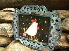 Chicken Folk Art Hand Painted Wood Framed Susan Williams, Georgia
