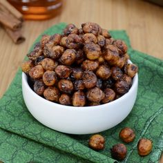 So delicious. Honey Cinnamon Roasted Chickpeas. Love, love, love. Such a good snack alternative and really easy to make.