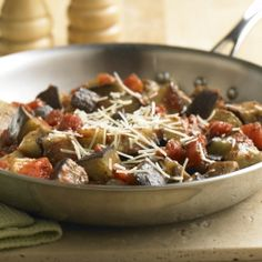 Fresh eggplant recipe combines eggplant with Italian seasoned tomatoes for a simple yet flavorful side dish