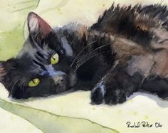 Tabby peinture aquarelle chat reproduction dArt par rachelsstudio