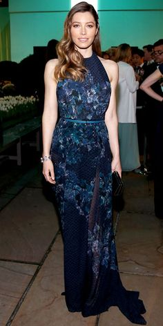 Jessica Biel wearing a floral Elie Saab halter gown with sapphire and diamond Tiffany & Co. jewels.