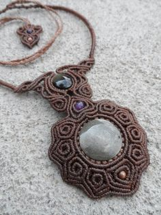 Gold Sheen Obsidian w/ Amethyst & Copper - Macrame necklace -stone size approx…