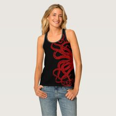 Red Vintage Octopus Tentacles Illustration Tank Top #rainbow #tanktops #fashion #allover