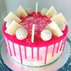 Raspberry & Vanilla ripple cake with white chocolate decorations. Perfect for any occasion. Chocolate Decorations, White Chocolate, Raspberry, Vanilla, Birthday Cake, Cakes, Desserts, Food, Tailgate Desserts