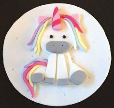 "1 x edible icing Unicorn Birthday 7"" cake topper cake decoration by ACupfulofCake on Etsy £11.50"