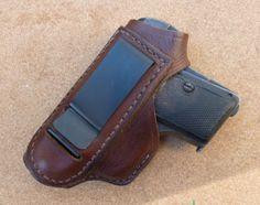 Browning 1906 & Colt 1908 Vest Pocket OWB clip leather holster - custom made by makeitjones.co.uk