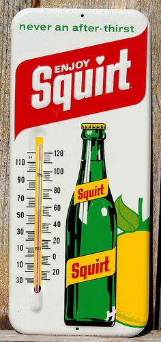 Vintage 1970s Squirt Soda Metal Sign with Thermometer