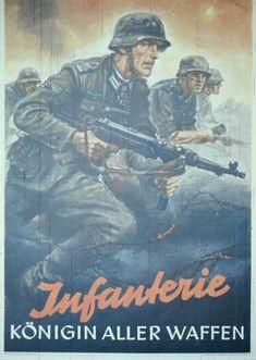 """WW2 Photo 15x20 Affiche propagande allemande /""""Infanterie Königin Aller Waffen"""