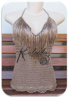 Celeida Artes em Fios: Blusa de crochê Bronze!!