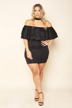 A plus size mini bodycon dress with a choker and an off shoulder neckline. Features ruffled and tiered flounces. Solid colored all over.
