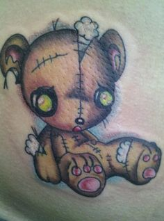 teddy bear tattoo by SkinCityTuck on DeviantArt Sad Drawings, Tattoo Drawings, Tattoo Art, Voodoo Doll Tattoo, Voodoo Dolls, Tribal Bear Tattoo, Japanese Demon Tattoo, Teddy Bear Tattoos, Teddy Bear Drawing