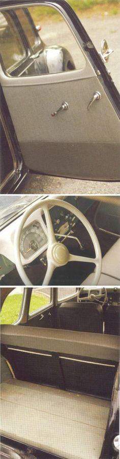 Citroën Traction Avant 11D Commerciale 1955: la roue de secours, placée dans son logement, bascule pour faciliter le chargement, les sièges arrière sont amovibles et le coffre est recouvert ici d'um placher bois une roue peinte en noir avec un enjoliveur bombé et chromé [photos Pierre-Yves Gaulard] Psa Peugeot Citroen, Automobile, Citroen Traction, Traction Avant, Cabriolet, Cars And Motorcycles, Retro Vintage, France, Wheels