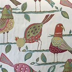 This is an orange, red, green and blue woven bird design upholstery fabric by Swavelle Mill Creek Fabrics, suitable for any decor in the home or office.  Perfect for pillows, cushions and furniture.