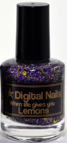 When life gives you Lemons, a purple and gold glitter topper charity polish for Alex's Lemonade Stand