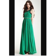 Nwt Freeway Belted Pleated Maxi Dress Small