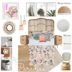 My KInd of Bliss Mood Board- Boho Bedroom/ Tropical Paradise/ Tropical Decor – Top Trend – Decor – Life Style Tropical Bedrooms, Tropical Home Decor, Tropical Houses, Tropical Paradise, Tropical Master Bedroom, Tropical Interior, Stylish Bedroom, Modern Bedroom, Perth