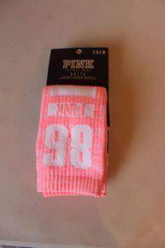 Pink Victoria's Secret Women's Light Pink White Logo Crew Socks 2 Pairs #PinkVictoriasSecret #Crew