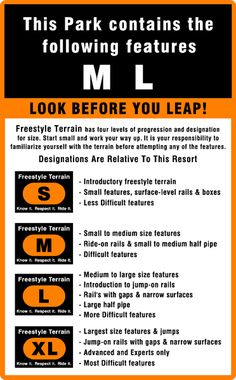 Look before you leap! Freestyle Terrain signs and what they mean.