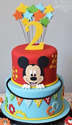 Mickey Mouse Birthday Theme, Baby Boy Birthday Cake, Fiesta Mickey Mouse, Theme Mickey, First Birthday Cakes, 2nd Birthday, Mickey Cakes, Mickey Mouse Cake, Minnie Mouse Cake