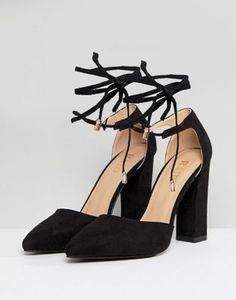 43e556938d9d8b Image 1 of RAID Pamela Black Ankle Tie Block Heeled Shoes Block Heel Shoes