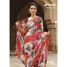 Light coral, red & multi georgette saree decorate with gray floral prints, Contrast blouse & lace. Laxmipati Sarees, Georgette Sarees, Indian Sarees, Indian Dresses, Indian Outfits, Suits For Women, Clothes For Women, Indian Clothes Online, Printed Sarees