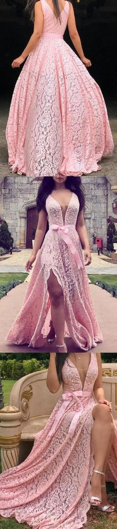 A Line Deep V Neck Pink Lace Sleeveless Prom Dresses Long Party Dance Dresses P1113, This dress could be custom made, there are no extra cost to do custom size and color Dresser, Split Prom Dresses, Affordable Prom Dresses, Make Your Own Dress, Ombre Color, Different Fabrics, Dance Dresses, Pink Lace, Ball Gowns