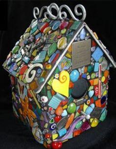 Multi colored broken dinnerware mosaic tile birdhouse