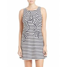 Kate Spade New York Striped Cover-Up ($162) ❤ liked on Polyvore featuring swimwear, cover-ups, blue, beach swimwear, beach cover up, kate spade, striped swimwear and blue swimwear