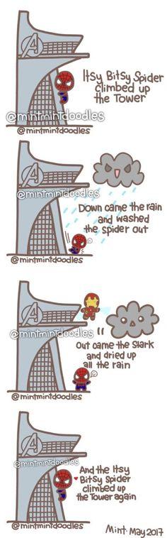 Marvel Avengers 312507661642451712 - Bitsy Spider Climing The Tower – Source by Avengers Humor, Marvel Jokes, The Avengers, Funny Marvel Memes, 9gag Funny, Funny Comics, Hero Marvel, Marvel Art, Marvel Dc Comics
