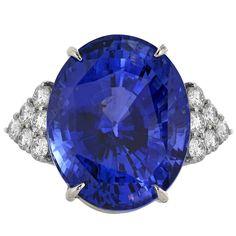50.14 Carat Sapphire Diamond Platinum Three Stone Ring | See more rare vintage Three-Stone Rings at http://www.1stdibs.com/jewelry/rings/three-stone-rings