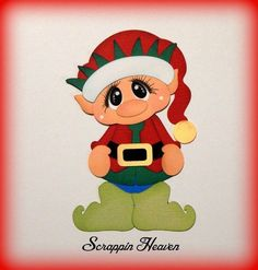 Christmas Elf premade paper piecing for scrapbook pages die cut album card