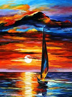 Towards The Sun — Limited Edition Seascape Sunset And Ocean Sailing Boat Wall Art Print On Canvas By Leonid Afremov In Richtung der Sonne Wand limitierte Auflage Landschaft Oil Painting On Canvas, Canvas Art, Sun Painting, Knife Painting, Sailboat Painting, Nautical Painting, Sailboat Art, River Painting, Tree Canvas