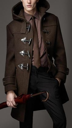 Gangsters Long Wool Overcoat   Pairing a dark brown duffel coat with black trousers will create a ...