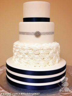 "Design W 0637 | Fondant Wedding Cake | 14""+10""+8""+6"" 