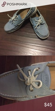 Powder Blue Sperrys Powder Blue Sperrys. Suede leather. Great condition. Not worn very much. Sperry Top-Sider Shoes Flats & Loafers