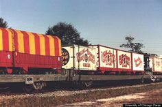Although one-ring circuses were favored in Europe, American circuses grew dramatically in the 19th century, known as the Golden Age of the Circus. Barnum & Bailey expanded to three rings, employing 1,200 people and transporting 330 horses and scores of animals around the US. Here's a circus train, as it looks now at the Ringling museum in Florida.