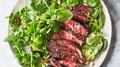 Steak with Tangy Sauce and Watercress Salad | Dairy free and gluten free. | Click for healthy recipe. | Via  Bon Appetit