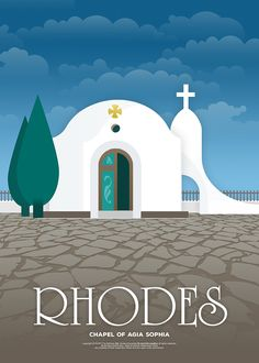 The chapel of Agia Sophia, Rhodes (Greece). Vintage Illustrated Travel Posters / FNK