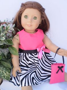 """Pink Black white Dress 18"""" American Girl Doll Clothes with Shoes and Purse"""